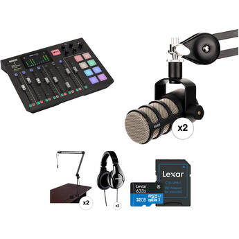 Rode RODECaster Pro 2-Person Podcast Studio with PodMic Microphones and Broadcast Arms Kit