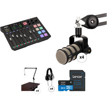 Rode RODECaster Pro 4-Person Podcast Studio with PodMic Microphones and Broadcast Arms Kit