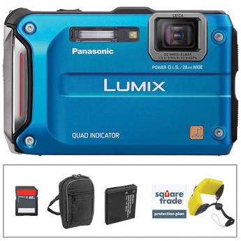 Panasonic Lumix DMC-TS4 Digital Camera (Blue) with Deluxe Accessory Kit