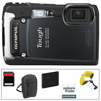 Olympus Tough TG-820 Digital Camera (Black) with Deluxe Accessory Kit