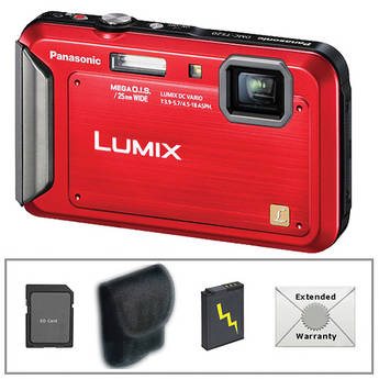 Panasonic Lumix DMC-TS20 Digital Camera Deluxe Accessory Kit (Red)