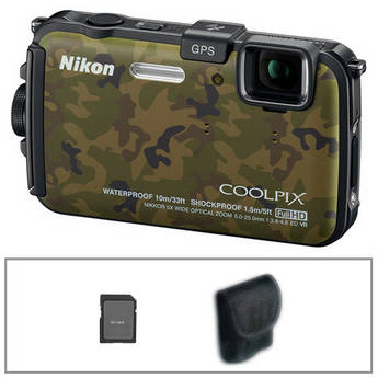 Nikon COOLPIX AW100 Waterproof Digital Camera with Basic Accessory Kit (Camouflage)