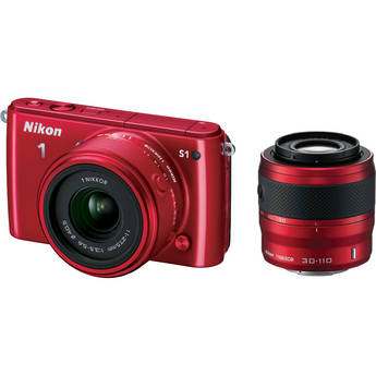 Nikon 1 S1 Mirrorless Digital Camera with 11-27.5mm and 30-110mm Lenses (Red)
