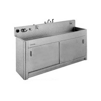 "Arkay Premium Stainless Steel Photo Processing Sink Series SP (30x84x10"") with 9"" Backsplash - Radius Coved Corners"