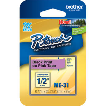 """Brother 0.47"""" Black on Pink """"M"""" Labeling Tape (26.2', One Roll)"""