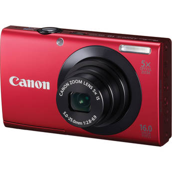 Canon PowerShot A3400 IS Touch Screen Digital Camera (Red)