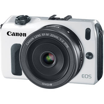 Canon EOS-M Mirrorless Digital Camera with EF-M 22mm f/2 STM Lens - White