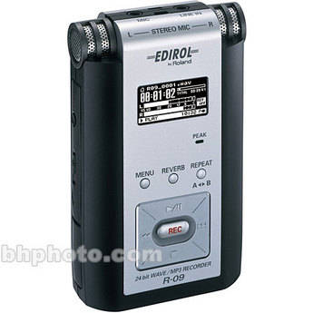 Edirol Roland R 09 Portable 24 Bit Wav Mp3 Audio R 09 B Amp H