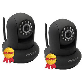 Foscam Wireless IP Camera With IR Lens Kit (2-Pack, Black)