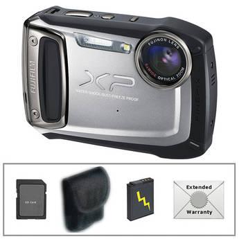 Fujifilm FinePix XP100 Digital Camera (Silver) with Deluxe Accessory Kit