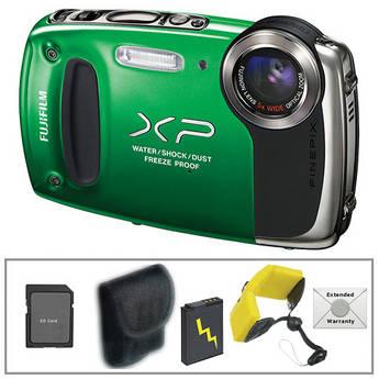 Fujifilm FinePix XP50 Digital Camera with Deluxe Accessory Kit (Green)