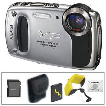 Fujifilm FinePix XP50 Digital Camera with Deluxe Accessory Kit (Silver)