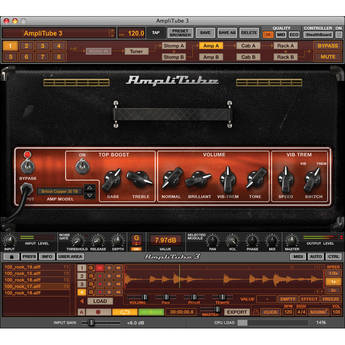 IK Multimedia AmpliTube 3 Guitar and Bass Amp Effects Modeling Software