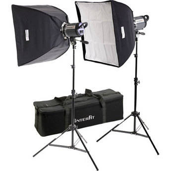 Interfit Stellar XD 300 Flash Two Monolight Twin Softbox Kit (120VAC)