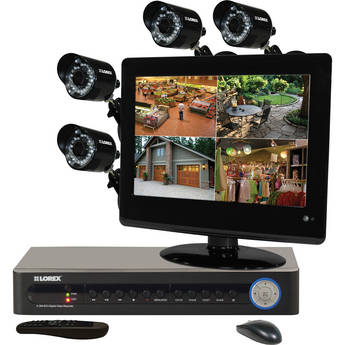 "Lorex Security Camera System with 4 Cameras / 8-Channel DVR / 13.3"" Monitor"
