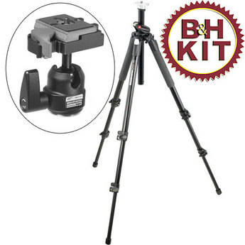 Manfrotto 055XPROB Tripod Legs (Black) with 484RC2 Mini Ballhead