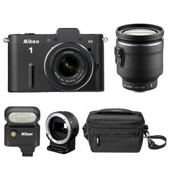 Nikon 1 V1 Mirrorless Digital Camera Deluxe Kit (Black)