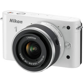 Nikon 1 J1 Mirrorless Digital Camera with 10-30mm VR Zoom Lens (White)