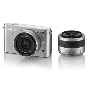 Nikon 1 J1 Mirrorless Digital Camera with 10mm WA/10-30mm Zoom Lens (Silver)