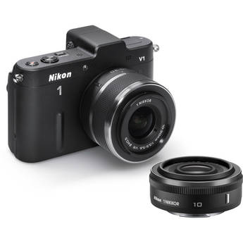 Nikon Nikon 1 V1 Mirrorless Digital Camera with 10mm and 10-30mm Lenses (Black)