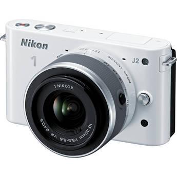 Nikon 1 J2 Mirrorless Digital Camera with 10-30mm VR Zoom Lens (White)