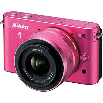 Nikon 1 J2 Mirrorless Digital Camera with 10-30mm VR Zoom Lens (Pink)