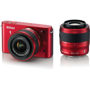 Nikon 1 J1 Mirrorless Digital Camera with 10-30mm / 30-110mm Lens (Red)