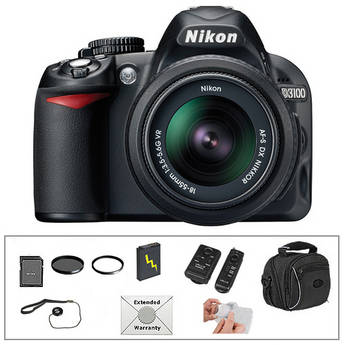Nikon D3100 Digital SLR Camera with 18-55mm VR Lens and Deluxe Accessory Kit