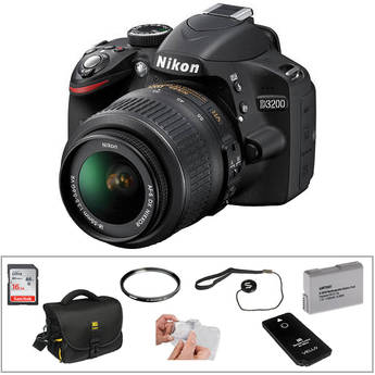 Nikon D3200 Digital SLR Camera w/ 18-55mm VR Lens (Black) & Basic Accessory Kit
