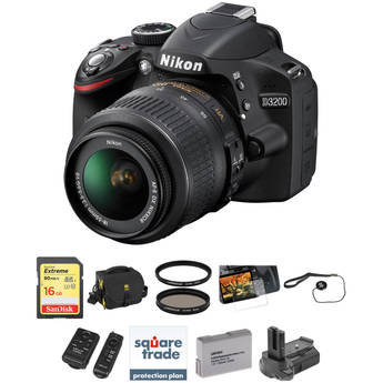 Nikon D3200 Digital SLR Camera w/ 18-55mm VR Lens (Black) & Deluxe Accessory Kit
