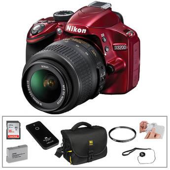 Nikon D3200 Digital SLR Camera With AF-S DX NIKKOR 18-55mm 1:3.5-5.6G VR Lens (Red) Essential Kit
