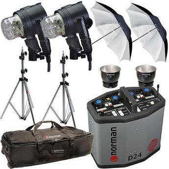 Norman D24R Pack, 2- IL2500 Head/Reflector, Stands, Umbrellas, Case Kit (115VAC)