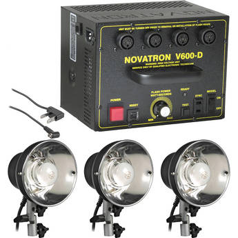 Novatron V600-D 600 W/S 3- Light Kit No Umbrellas, Stands or Case