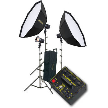 Novatron V400-D 3 FC Head Kit with 2 Softboxes and Wheeled Soft Case (115VAC)