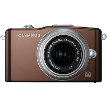 Olympus E-PM1 Mirrorless Micro Four Thirds Digital Camera with 14-42mm II Lens (Brown)