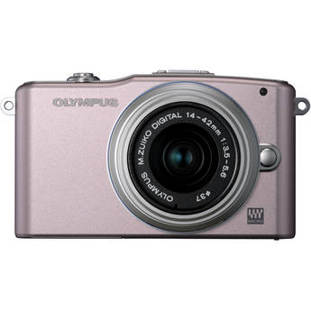 Olympus E-PM1 Mirrorless Micro Four Thirds Digital Camera with 14-42mm II Lens (Pink)