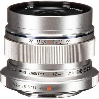 Olympus M.ZUIKO DIGITAL ED 12mm f/2.0 Lens (Silver)