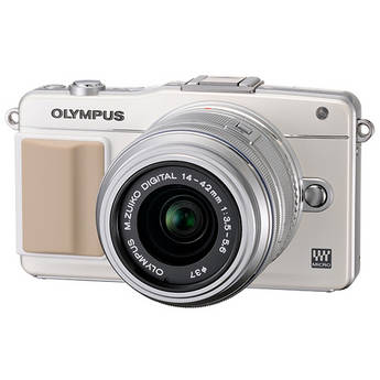 Olympus E-PM2 Mirrorless Micro Four Thirds Digital Camera with 14-42mm f/3.5 - 5.6 II Lens (White Camera, Silver Lens)