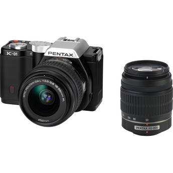 Pentax K-01 Digital Camera With 18-55mm & 50-200mm Lenses (Black)