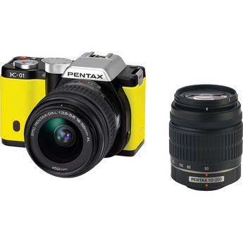 Pentax K-01 Digital Camera With 18-55mm & 50-200mm Lenses (Yellow)