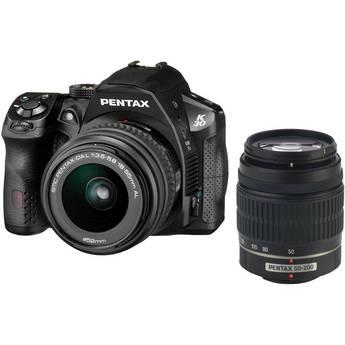 Pentax K-30 DSLR Camera with 18-55mm AL and 50-200mm AL Lens Kit - Black