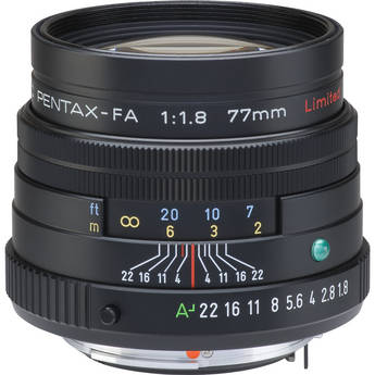 Pentax Telephoto SMCP-FA 77mm f/1.8 Limited Series Autofocus Lens (Black)
