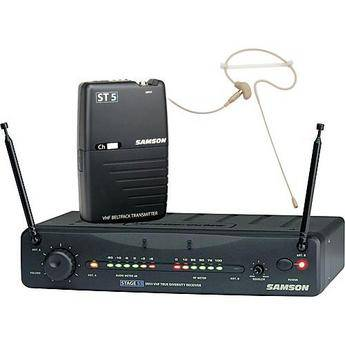 Samson Stage 55 Wireless VHF Bodypack Microphone System with SE10 Headset