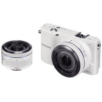 Samsung NX1000 Mirrorless Wi-Fi Digital Camera with 20-50mm and 16mm Lenses (White)