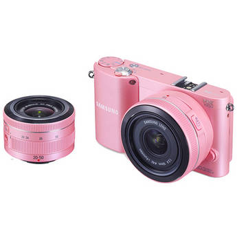 Samsung NX1000 Mirrorless Wi-Fi Digital Camera with 20-50mm and 16mm Lenses (Pink)
