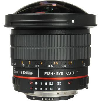 Samyang 8mm f/3.5 HD Fisheye Lens with Removable Hood for Nikon