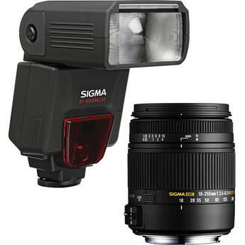 Sigma 18-250mm f/3.5-6.3 DC Macro OS HSM Lens and EF610 DG ST Flash Kit for Sigma