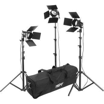 Smith-Victor K33 3-Light 1800 Watt Portable Attache Kit with Barndoors (120-240VAC)