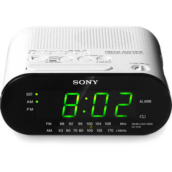 sony icf c218 am fm clock radio white icfc218white b h photo. Black Bedroom Furniture Sets. Home Design Ideas