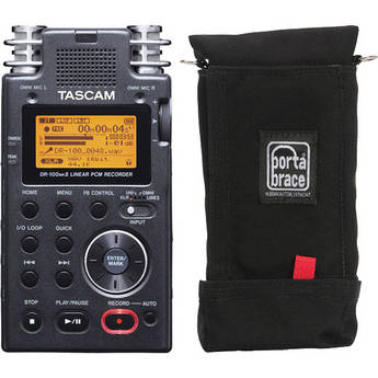 Tascam DR-100MKII Linear PCM Recorder and Porta Brace Case Kit